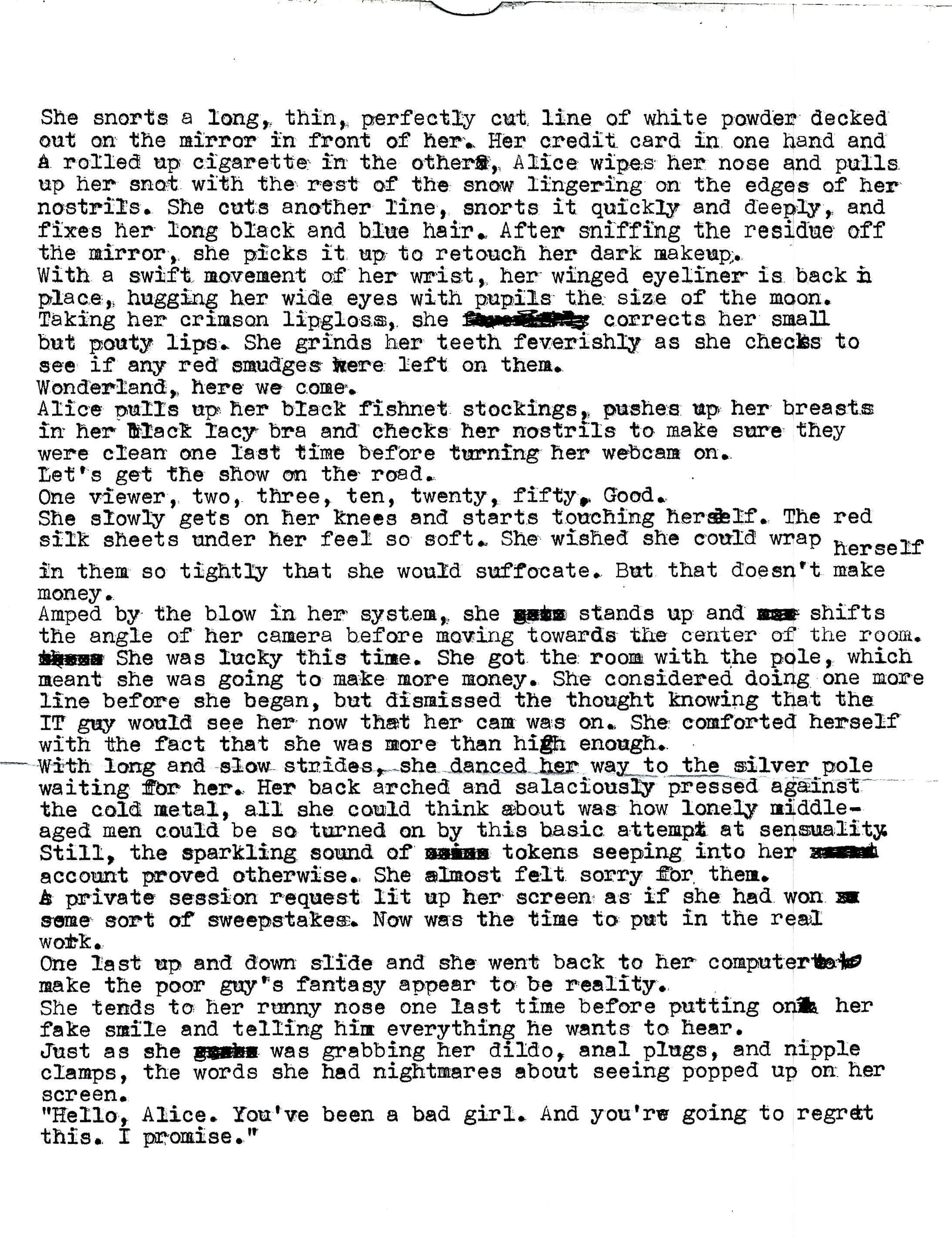 alice in nightmareland typewriter short story
