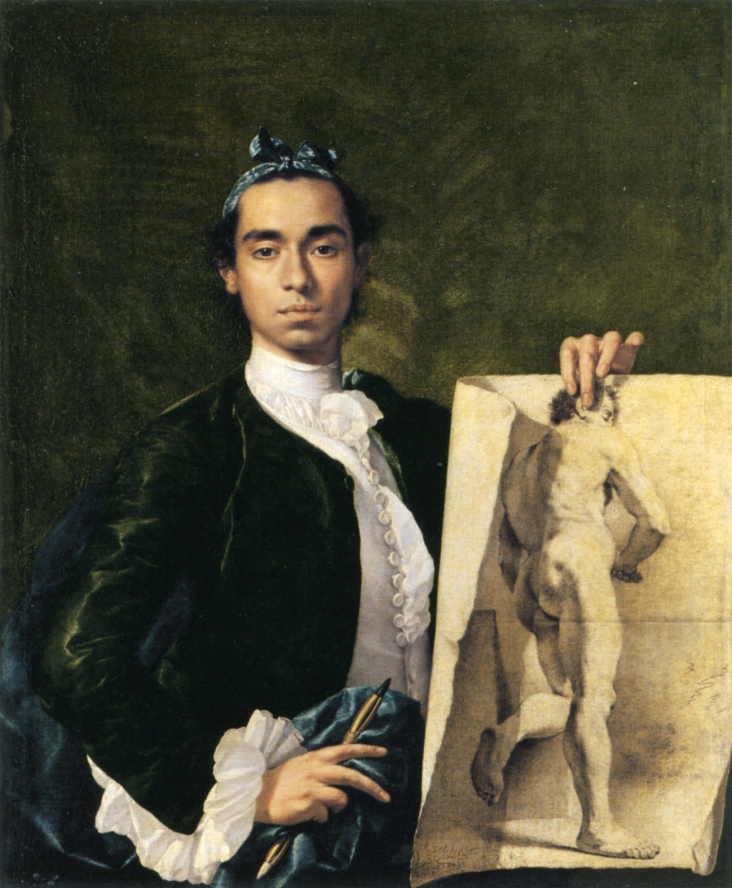 Self-portrait Holding an Academic Study, Luis Meléndez